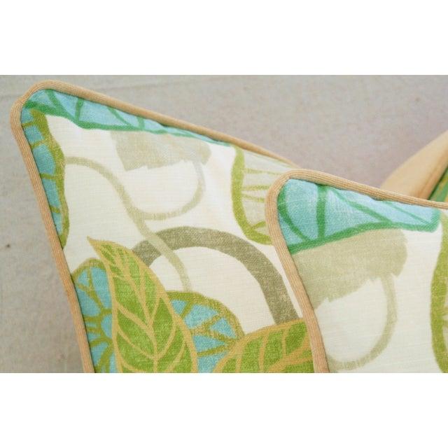 Custom Tailored Atrium Foliage Feather/Down Linen & Velvet Pillows - Pair For Sale - Image 4 of 11