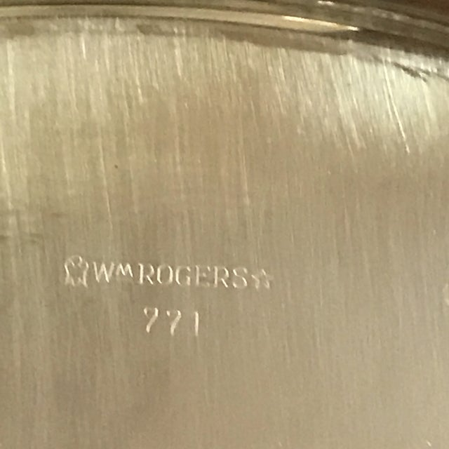 Vintage WM Rogers Silver-Plate Round Tray For Sale - Image 11 of 13