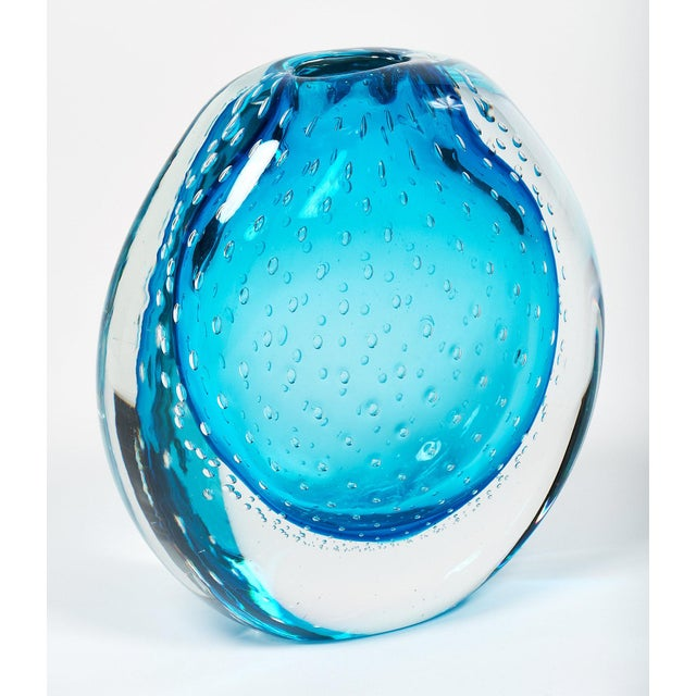 """Blue Murano Glass """"Sommerso"""" Vase For Sale - Image 10 of 10"""