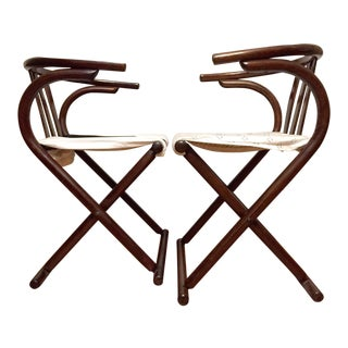 1970s Vintage Thonet Bentwood Folding Chairs- A Pair For Sale