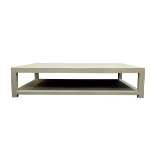 Modern Raffia Covered Coffee Table With Shelf For Sale