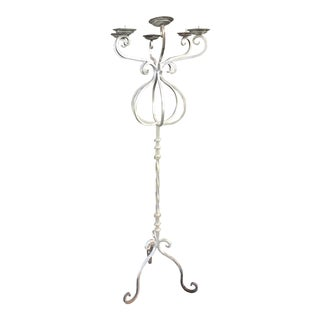 Monumental Iron Candelabra in Silver Paint For Sale