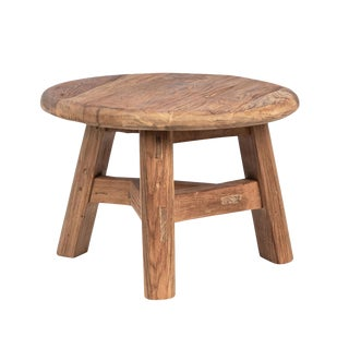 Rustic Teak Round Coffee / Side Table For Sale