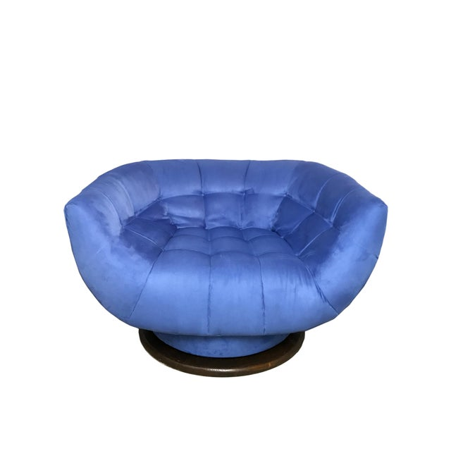 Blue Adrian Pearsall Monumental Swivel Lounge Chair For Sale - Image 8 of 8