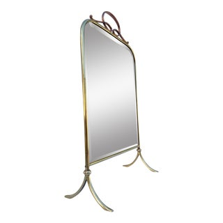 Italian Brass Floor or Table Mirror For Sale