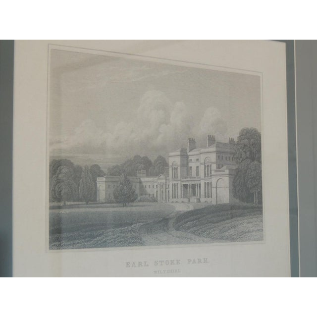English Manors Engraving Reproduction in Black & White Framed #4 For Sale - Image 4 of 5