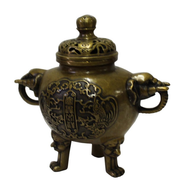 Asian Chinese Oriental Fine Bronze Metal Incense Burner Display For Sale - Image 3 of 6