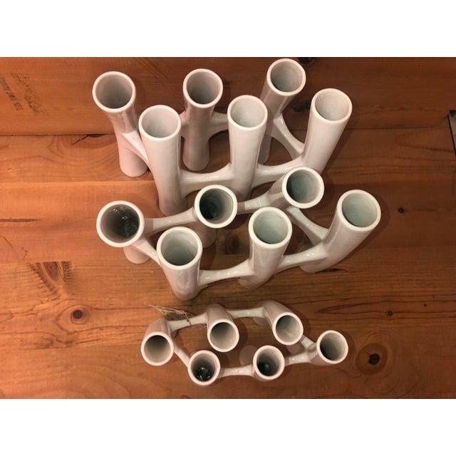 Modern Vintage White Coral Vase Flower Ceramic Vases - 3 Piece Set For Sale - Image 3 of 11