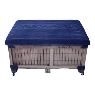 African Indigo Upholstered Storage Ottoman For Sale