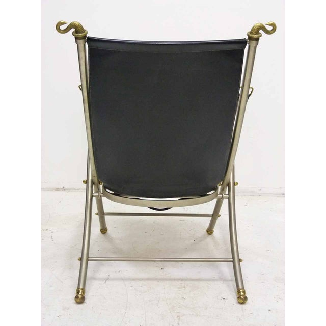 Jansen Style Leather & Brass Campaign Chair - Image 5 of 10