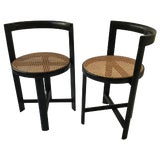 Image of Pair of 1970s Italian Caned Circular Chairs For Sale