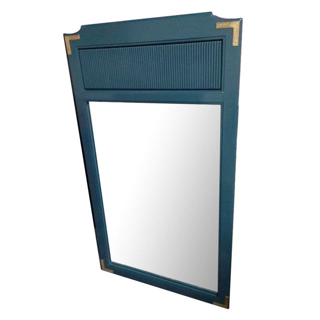 Teal Lacquered Mirror with Brass Trim - Image 1 of 4