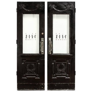 Pair of Neoclassical Louis XVI Lacquered Pub or Bistro Doors For Sale
