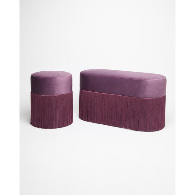 Art Deco New Pouf Pill Purple in Velvet Upholstery With Fringes by Houtique For Sale - Image 3 of 12