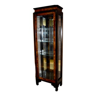 Ethan Allen Vintage Asian Style Lighted Curio Cabinet For Sale