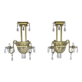 Pair of French Bronze and Rock Crystal 2-Light Sconces For Sale