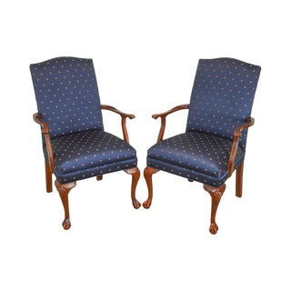 Ethan Allen Chippendale Style Ball & Claw Pair of Arm Chairs For Sale