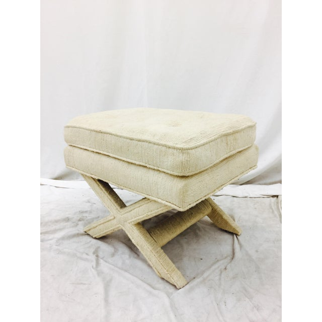 White Vintage Corded Detail 'X' Bench For Sale - Image 8 of 8