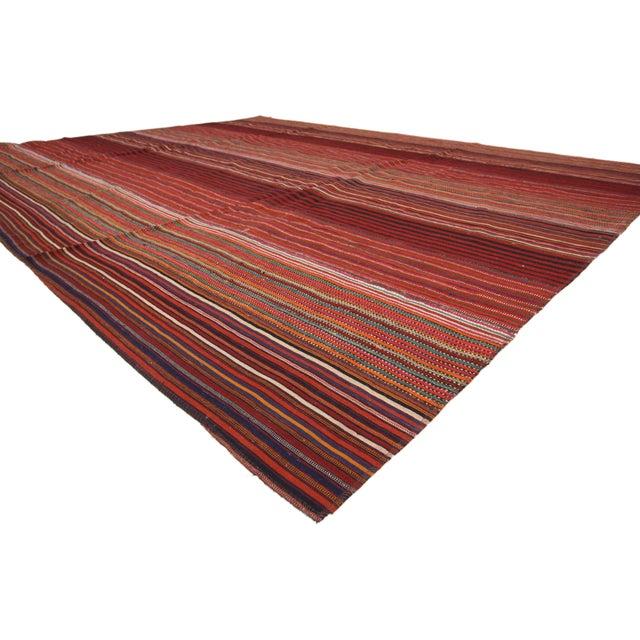 60801, Contemporary Boho Vintage Turkish Jajim Kilim Flat-Weave Rug, Striped Area Rug. This handwoven wool vintage Turkish...