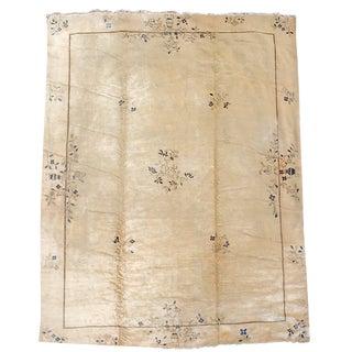 Peking Cream Wool Carpet - 10′ × 13′2″ For Sale