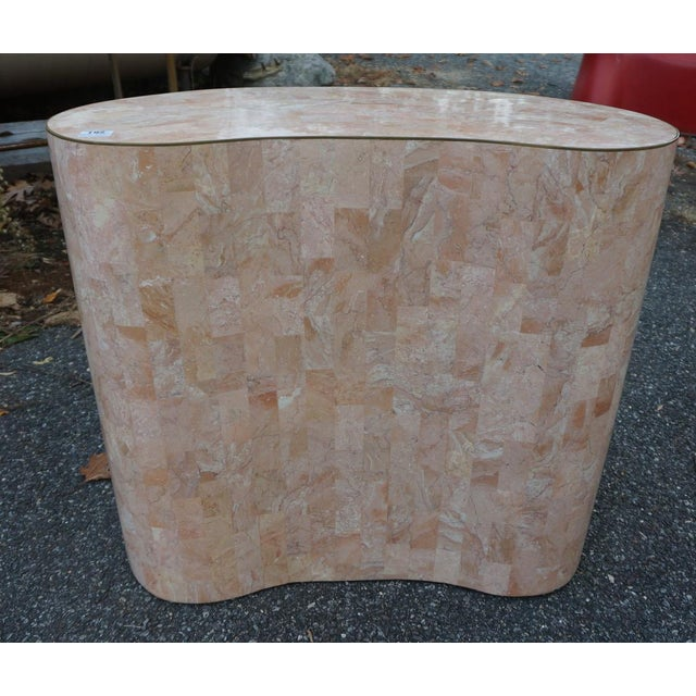 Final Markdown Maitland-Smith Tessellated Pink Marble Kidney Side Table - Image 4 of 6