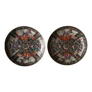 Rose Medallion Plates, a Pair