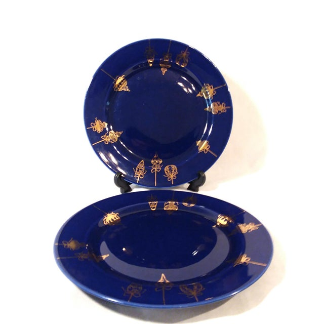 Cobalt Blue & Gold Dinner Plates - a Pair For Sale In Los Angeles - Image 6 of 9