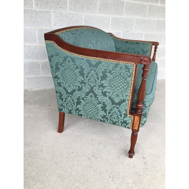 Description: Conover Furniture Federal Style Love Seat, Damask Green Upholstery. In Very Good Vintage Furniture Condition,...