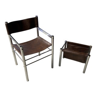 1970s Vintage Chrome Chair and Matching Chrome Magazine Rack For Sale