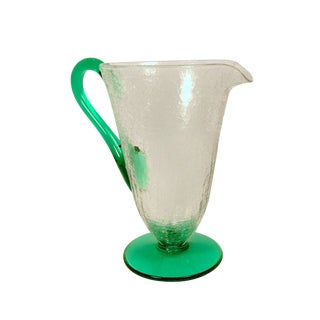 Clear Crackle Glass Green Glass Handle and Base Pitcher