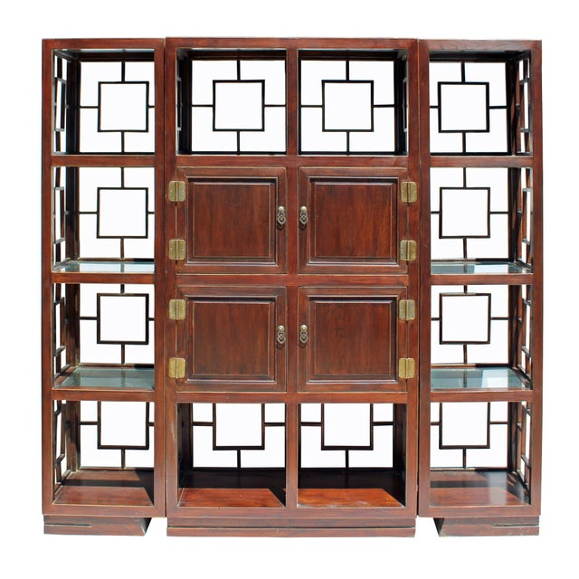 Chinese Set of 3 Vintage Elm Wood Glass Shelf Display Curio Cabinet Room Divider For Sale In San Francisco - Image 6 of 8