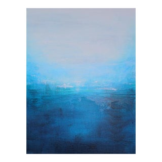 """""""Land Isle"""" Original Abstract Blues Landscape Painting For Sale"""