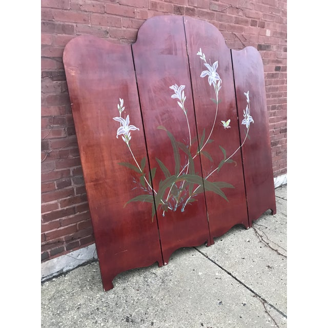 1940's Era Vintage Painted Folding Screen For Sale - Image 10 of 11