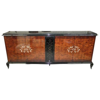 Jules Leleu French Art Deco Mother-of-Pearl & Marble Sideboard / Buffet Circa 1940s