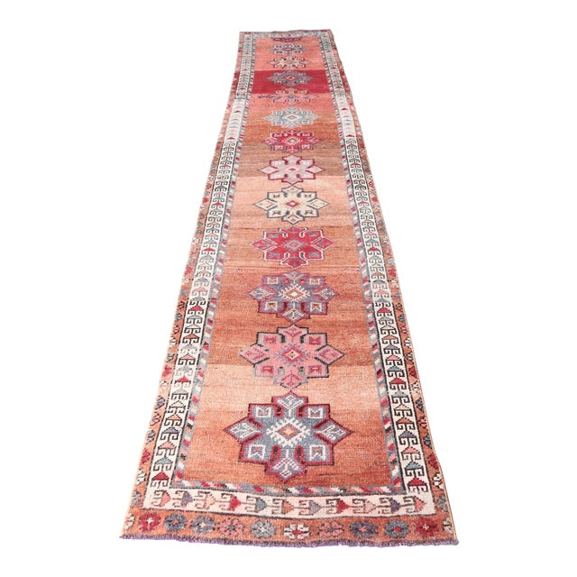 "1960's Vintage Turkish Hand-Knotted Long Runner Rug - 2'6"" X 13'8"" For Sale"