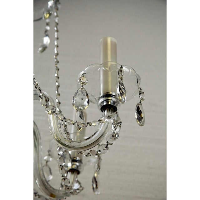 French All Crystal Five Light Chandelier with Waterfall Beading - Image 4 of 7