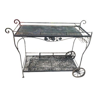 Vintage Russel Woodard Wrought Iron Drink/Bar/Flower Pot Cart For Sale