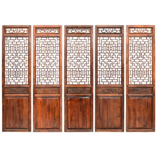 Set of Five Chinese Antique Screens, Ming Style For Sale