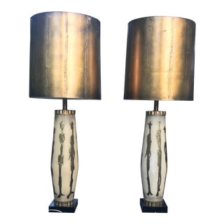 Italian Mid-Century Modern Textured Figures in Gold Over Glass Lamps Giacometti - a Pair For Sale