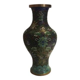 Vintage Enamel Brass Cloisonné Vase For Sale