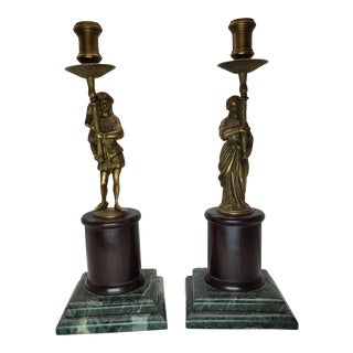 Vintage Renaissance Brass Bronze Green Marble Figural Candlestick Holder Torchieres - a Pair For Sale