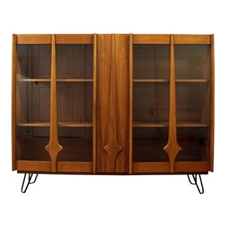 Mid-Century Danish Modern Walnut Bookcase/Display Cabinet on Hairpin Legs