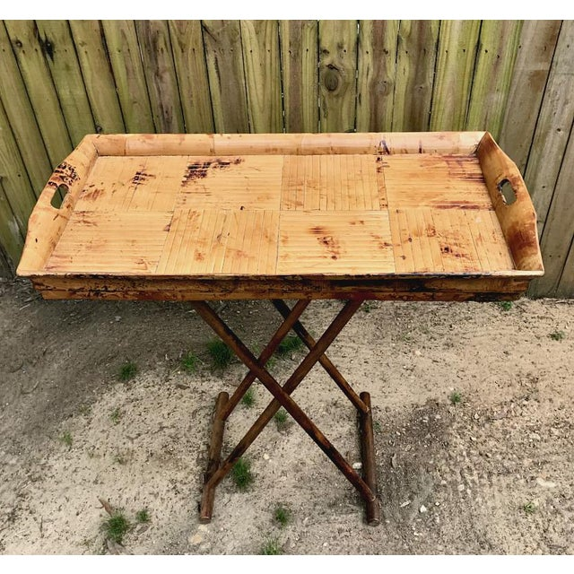 Asian 1970s Asian Modern Bamboo Tray Table With Folding Base For Sale - Image 3 of 9