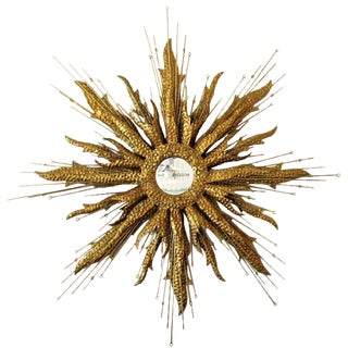 Brutalist Sunburst Mirror Gold, Mid Century For Sale