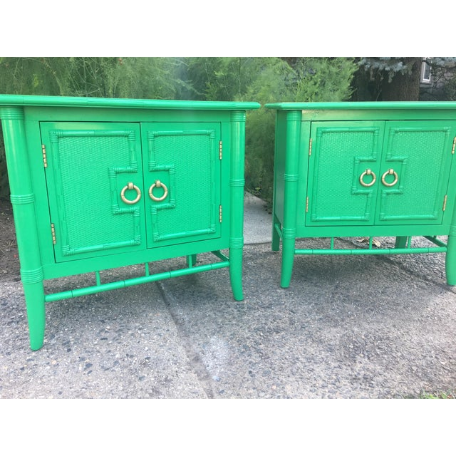 Vintage Thomasville Faux Bamboo Green Nightstands - A Pair - Image 8 of 10