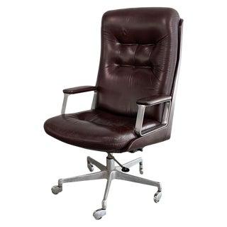 Italian Mid-Century Modern Leather High Back Executive Office Armchair For Sale