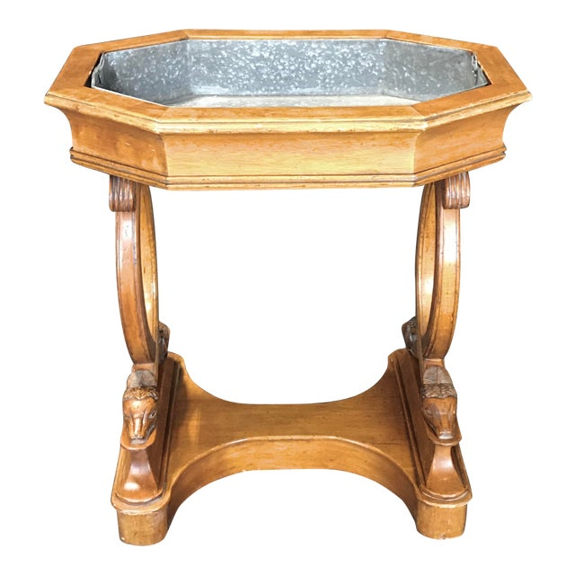 Antique French Hand Carved Sheepshead Walnut Planter Table For Sale