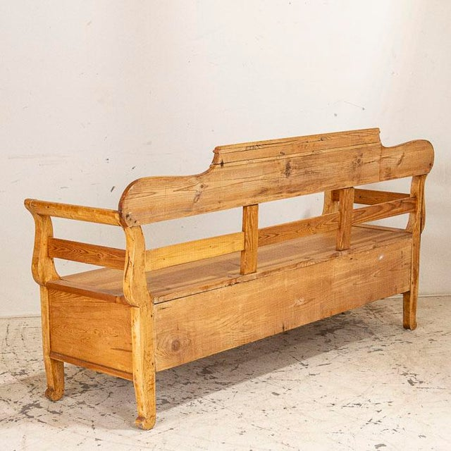 Mid 19th Century Mid 19th Century Antique Pine Swedish Bench With Storage For Sale - Image 5 of 7