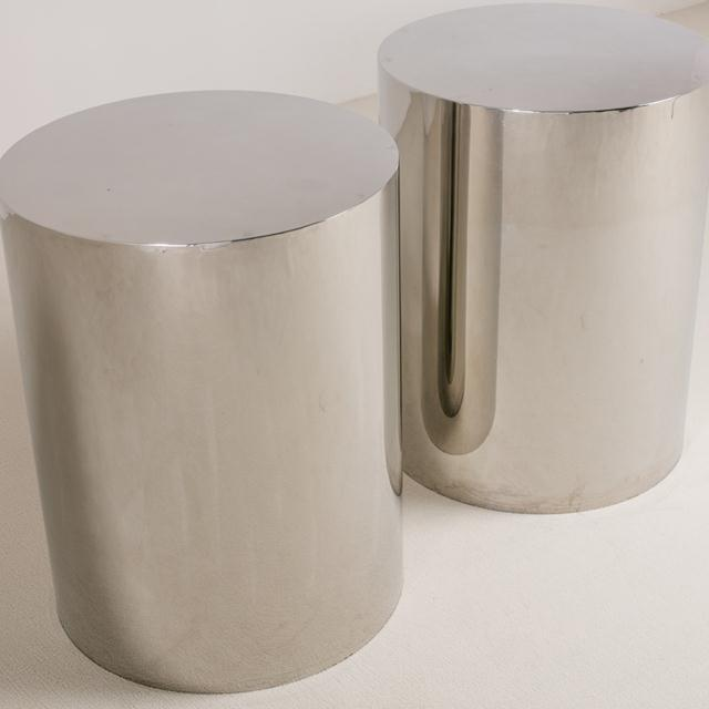 Mid-Century Modern Pair of Polished Steel Pedestals, Table Bases 1970s For Sale - Image 3 of 6