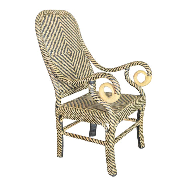 Two-Tone Chevron Pattern Rattan Wicker Tall Back Chair With Spiral Arms For Sale